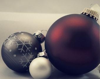Christmas Decor, Holiday Art, Vintage Modern Christmas Ornament Wall Art