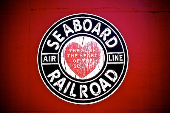 Train Room Decor, Train Wall Decor, Deep Red Train Car Photograph, Railroad Crossing Print, Seaboard Railroad