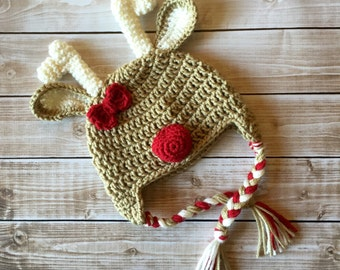Little Miss Reindeer Beanie in Taupe, Ecru and Red Available in Newborn to Child Size- MADE TO ORDER
