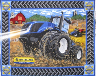 CNH New Holland Tractor Farm Barn Field Crop Harvest Cotton Fabric By The Panel