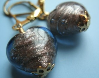 Lampwork Blue and Gold Heart Set