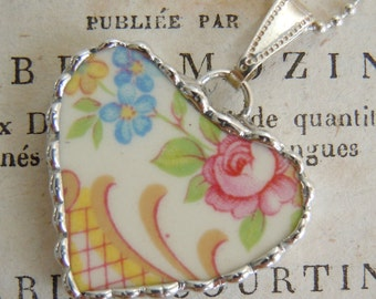Fiona & The Fig Vintage-Broken China Soldered Necklace Pendant Charm-Jewelry