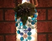 Reserved for Holli - Frosted Wine Bottle Light with Leaves, Berries and Blue Gems