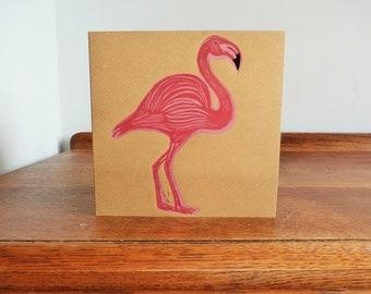 Flamingo Notebook, Original Hand Printed Card, Linocut Card, Blank Greeting Card, Brown Kraft Card, Free Postage in UK,