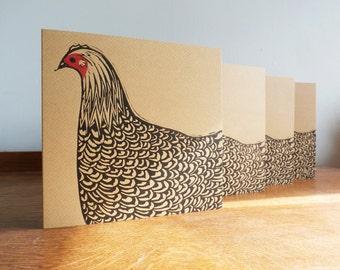 Linocut Cards Set of 4 Hens, Original Hand Printed Cards, Blank Greeting Cards, Brown Kraft Cards, Free Postage in UK,