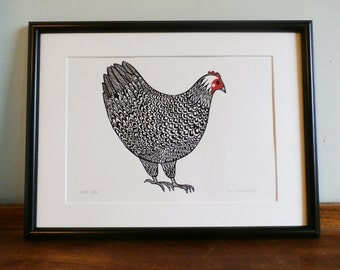 Hen, Original Linocut Print, Signed Limited Edition of 50,  Free Postage in UK, Hand Pulled, Printmaking,