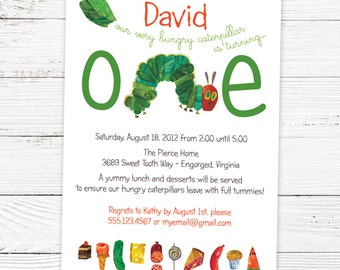 A Very Hungry Caterpillar Invitation - Kids Birthday Invitation