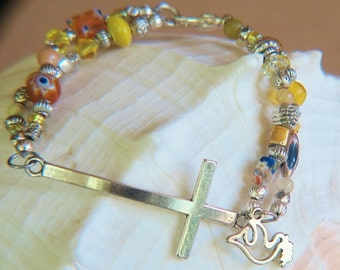 Beaded Cross Bracelet - Silvertone Beads and Cross - Wide range of yellows in  glass, crystal and silvertone beads