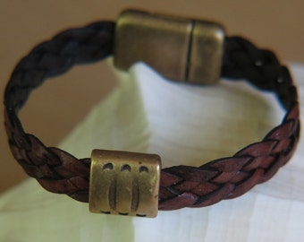 Braided Leather -  Brown braided leather Bracelet - Goldtone magnetic clasp and goldtone accent bead-