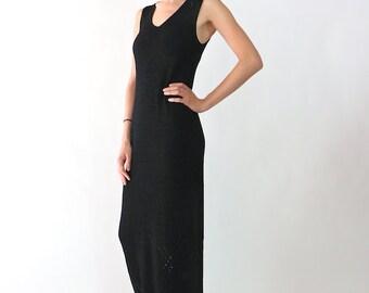Dkny Dress, knit dress, long dress, black dress, maxi dress, 90's vintage minimalist minimal knitted dress, womens small s