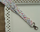 Fabric Lanyard ID - FALL Colored Music Notes on Ivory