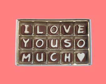 Womens Gift for Her Girlfriend Gift First Anniversary Gift for Boyfriend Valentines Gift for Him I Love You So Much Cubic Chocolate Letters