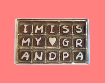 Grandpa Gift for Grandfather Long Distance Greeting Card from Granddaughter Funny Idea I Miss My Grandpa Cubic Chocolate by What Candy Says
