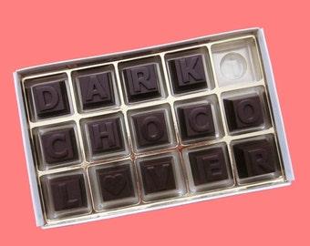 DARK Chocolate Message Letters Personalize Gift Men Boyfriend Gift Womens Girlfriend Gift Him Her 15 pc Box Birthday Anniversary Cute
