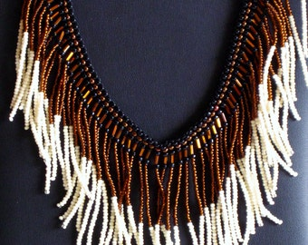 Beaded necklace, black, copper and cream with agate stones
