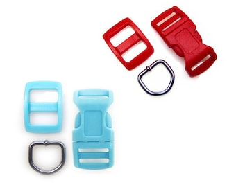 """10 Sets of Red and Blue 1/2"""" (13mm) Dog Collar Hardware Kits - (30 pieces) - Buckles, D-Rings, Wide-Mouth Triglides"""