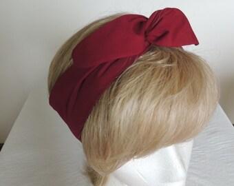 Maroon Wire Headband, Twist Head Scarf, Pointed Ends, Hat Band, Wine Head Band, Bunny Rabbit Ears, Hair Tie, Hair Scarf,  Hair Band, Bandana
