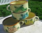Set of 4 Vintage Soup Bowls or Mugs - Near MINT - Japan Style 70s Retro Soup Bowls