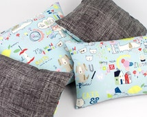 Cats & Dogs Reversible Pillow Cover, Blue Kids Pillow, Cartoon Pillow Cushion, Animal Nursery Decor, Kid Doodle Blue 18x18 16x26 12x20