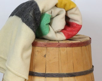 Vintage Wool Camp Blanket - Hudson Bay Style - Ayers - Cream, Red, Yellow, Green