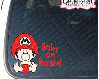 """Baby Mario """"BABY ON BOARD"""" Vinyl Car Decal"""