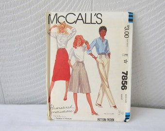 Pattern McCall's 7856 M7856  Misses Size 12 Skirt Pants Culottes. Fit As You Sew by Palmer & Pletsch Pattern.  New Uncut