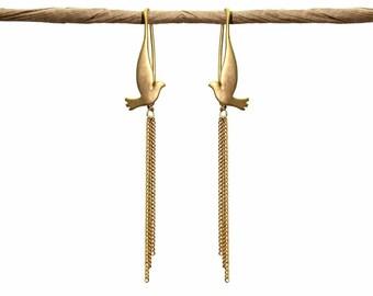Free Bird Dove Earrings. Triple Chain Drop Earrings. Three Chain Dangle Earrings. Gold or Silver.
