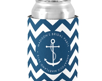 Personalized Nautical Cruise Can Cooler  -  Bachelorette Party Coolies - Party Can Coolie - Cruise Favors