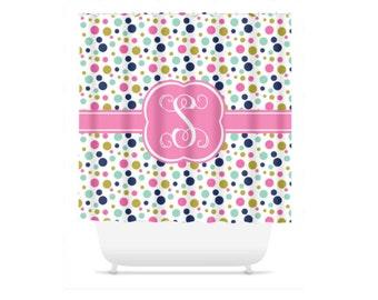 Personalized Shower Curtain, Monogram Polka Dot Shower Curtain