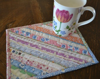 Pastel Selvage Cotton Placemat, Coworker gift, Pink Mug Rug