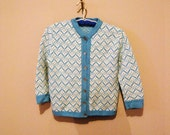 Vintage Sweater Bombshell 50's Aqua and White
