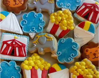 Circus cookies - 1 dozen - carnival - circus decorated cookies
