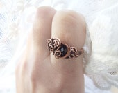 Black Crystal Ring, Dark Gothic Crystal Ring, Black Glass Crystal Ring