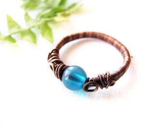 Blue Boho Ring, Winter Ring, Winter Jewelry, Bohemian Elvish Copper Ring, Gift for Her, Blue Copper Ring