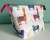 Hand Embroidered Embellished Zippered Flat Bottom Knitting Project Pouch Bag Tote Large Size Llama Alpaca Wool Chevrons