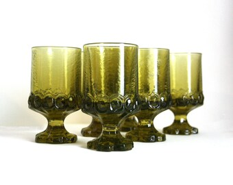 Green Franciscan Madeira. Set of Six Drinking Goblets