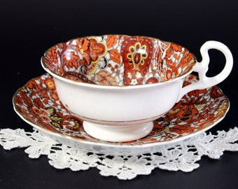 Paisley Chintz Tea Cup, Teacup and Saucer, High Handled, Radfords, Wide Mouthed, Bone China  13190