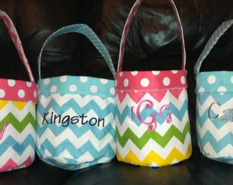 Easter Basket Tote Monogrammed Easter buckets Personalized with name or initial