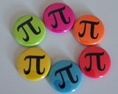 "Colorful Neon Pi Nerdy Geeky Math 1"" Pinback Button"