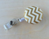 Retractable Badge Reel Holder - Metallic Gold Chevron