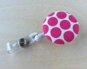 Retractable Badge Reel Holder - Pink Polka Dot