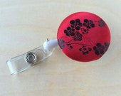 Retractable Badge Reel Holder - Red Cherry Blossoms