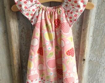 Pink Apples - Butterfly Peasant dress - Flutter Sleeves - Newborn 3 months - 12 18 24 Months