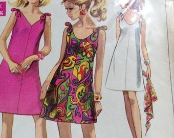 Vintage Simplicity 7671 Tie Shoulder Shift Dress Sewing Pattern 34 Inch Bust