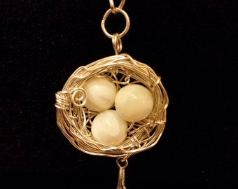 Handcrafted Mother of Pearl, Gemstone Birds Nest style pendant,Woodland Jewellery, Nature, Yoga Jewellery, Boho, Spiritual  Jewellery, Druid