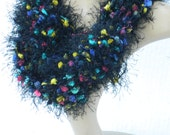 Long Winter  Crochet fun Fur Neck Warmers Women's And Teen Girls Accessory Gifts  Multicolored Scarf