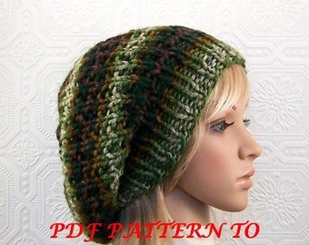 Knitting pattern hat - adult reversible knitting hat - PDF knitting pattern - instant download knitting pattern - Sandy Coastal Designs