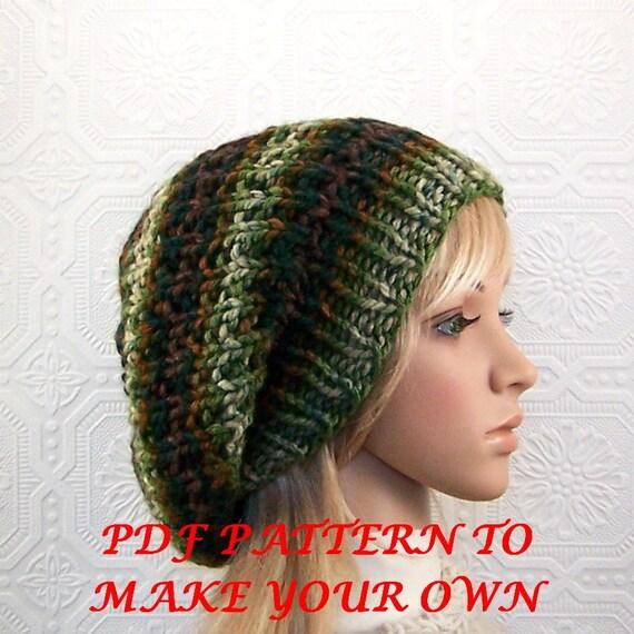 Knitting pattern hat adult reversible knitting hat PDF