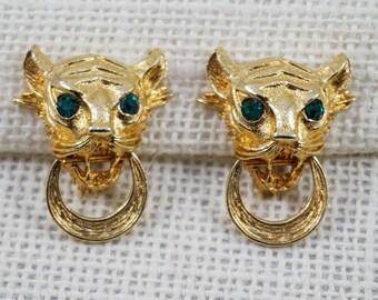 Vintage Vendome Gold Tone and Green Rhinestone Tiger Door Knocker Earrings