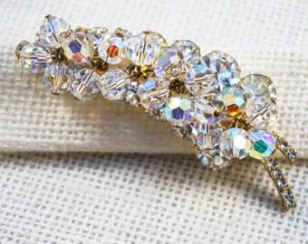 Juliana DeLizza & Elster Gold Tone Crystal Dangle and Rhinestone Leaf Brooch